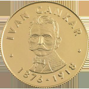 Ivan Cankar - zlatnik, teža 10g, čistina 900/1000