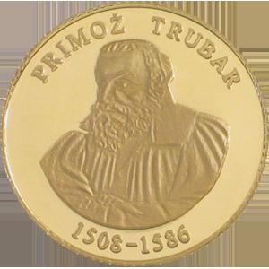 Primož Trubar - zlatnik, teža 5g, čistina 900/1000