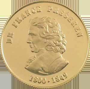Dr. France Prešeren - zlatnik, teža 10g, čistina 900/1000