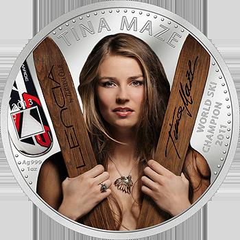 Srebrni spominski kovanec Tina Maze 2013
