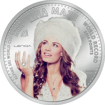 Srebrni spominski kovanec Tina Maze. DIAMOND EDITION 2014