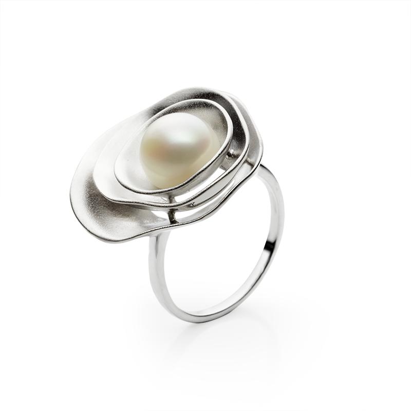 RingSilver 925/000Rhodium platedFreshwater pearl1 x - 9-9,5 mm