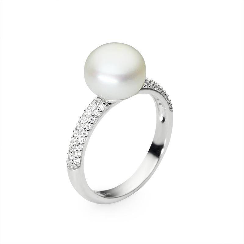 RingSilver 925/000Rhodium platedFreshwater pearl and cz