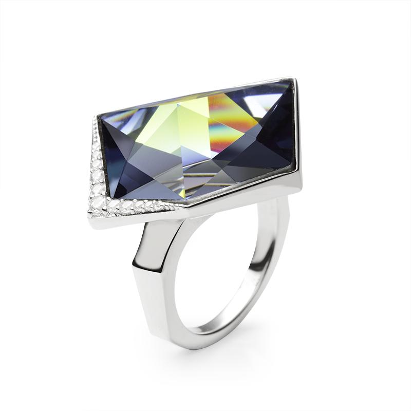 PrstenSrebro 925/000RodiniranoSwarovski kristal 19 mm - 1; cz - 11 x