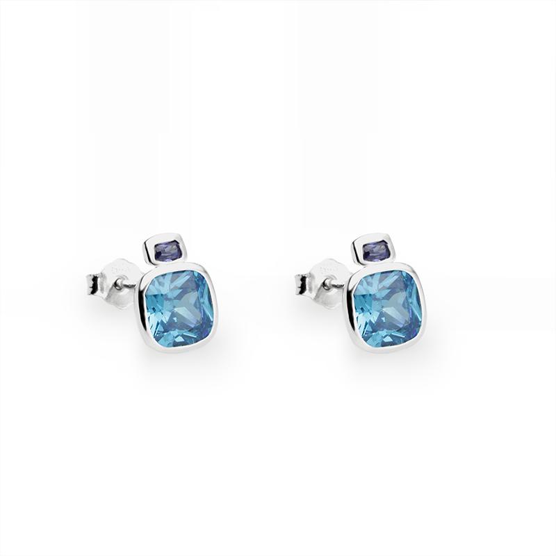 EarringsSilver 925/000Rhodium platedCZ 2 x - 2x3 mm, 2 x - 7x7 mm