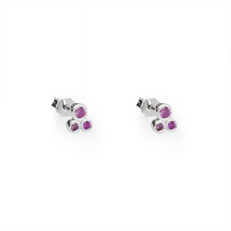 EarringsSilver 925/000Rhodium platedCZ 2 x - 3 mm; 4 x 2 mm