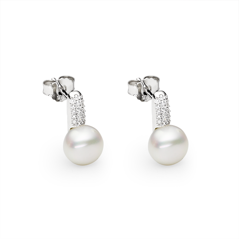 EarringsSilver 925/000Rhodium platedFreshwater pearl and cz