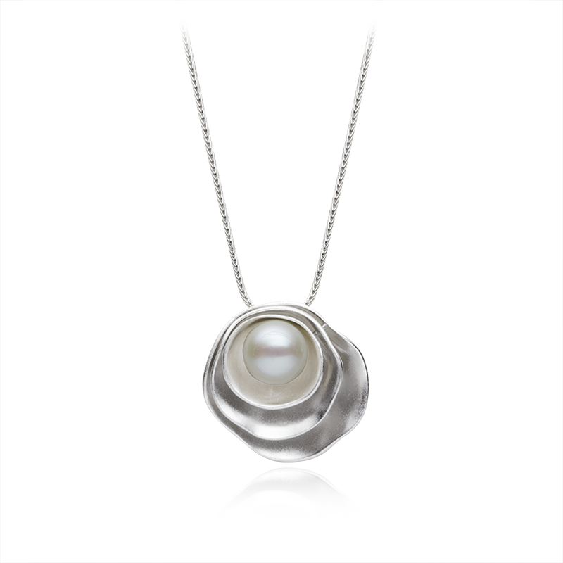NecklaceSilver 925/000Rhodium platedFreshwater pearl 1 x - 9-9,5 mm