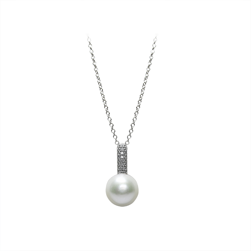 NecklaceSilver 925/000Rhodium platedFreshwater pearl and cz