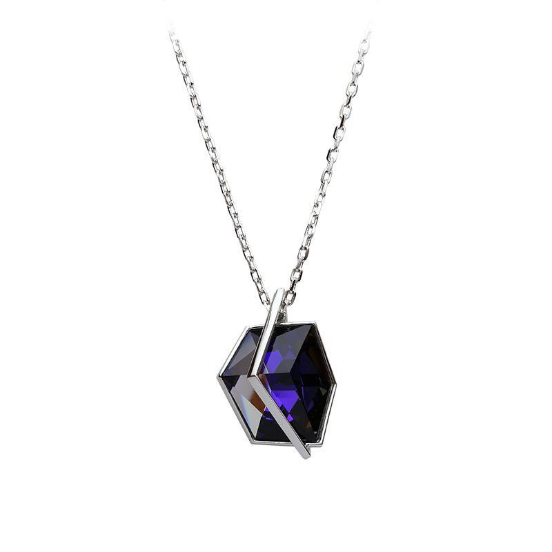 NecklaceSilver 925/000Rhodium platedSwarovski crystal fi 27 mm - 1 x