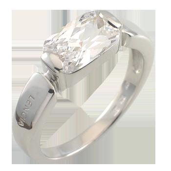 Prstensrebro 925/000rodiniranoCZ beli 11x7 mm - 1 x