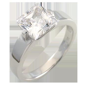 Ringsilver 925/000 rhodium platedCZ white 8x8 - 1 x