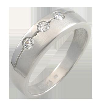 Ringsilver 925/000 rhodium platedCZ white 2,5 mm-3 x