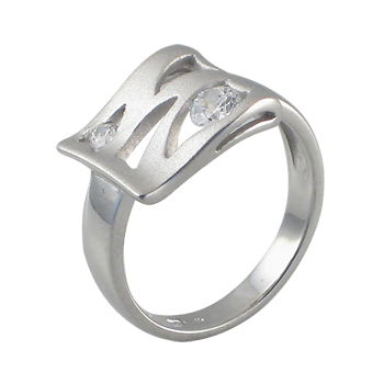Ringsilver 925/000rhodium platedCZ white 3,5 mm -1xCZ white 2,3 mm -1x