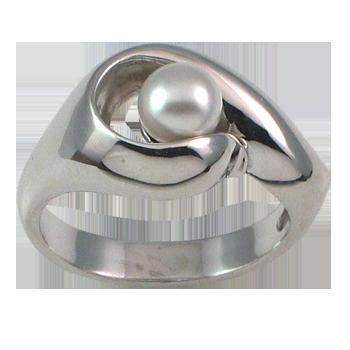 Prstansrebro 925/000rodiniranobiser beli, steklen fi 6 mm - 1 x