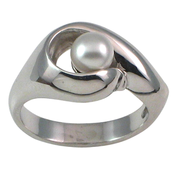 Prstensrebro 925/000rodiniranostakleni biser beli fi 6 mm -1 x