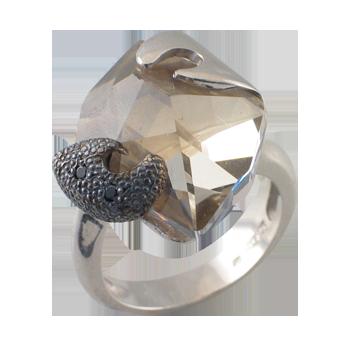 Prstensrebro 925/000rodiniranoSwarovski kristal 20 mm - 1 xCZ crni 1,5 mm - 6 x
