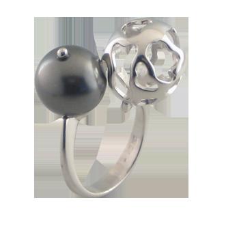 Ringsilver 925/000 rhodium platedpearl glas grey fi 12 mm - 1 x