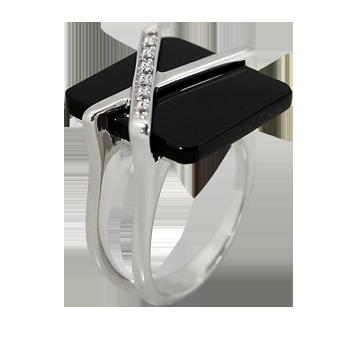 Prstensrebro 925/000rodiniranooniks 16 x 16 - 1 xCZ beli 1,25mm - 7 x