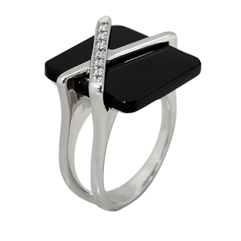 Ringsilver 925/000 rhodium platedonix 16x16 - 1 xCZ white 1,25 mm - 7 x