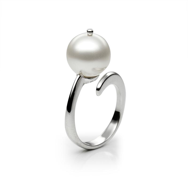 Prstensrebro 925/000rodiniranostakleni biser beli fi 12 mm - 1 x