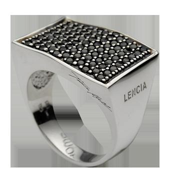 Ringsilver 925/000rhodium platedblack spinel 1,5 mm - 83x