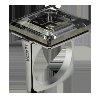 Prstansrebro 925/000rodiniranokristal Swarovskidorado 20 mm
