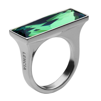 Ringsilver 925/000 rhodium platedSwarovski crystal enerit 24x8 mm - 1x