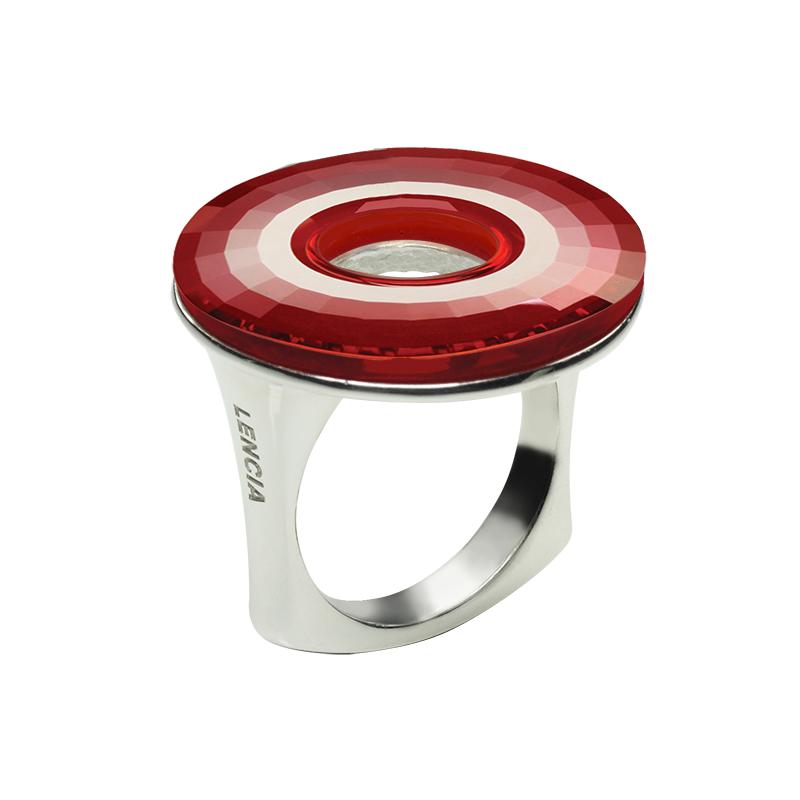 Ringsilver 925/000 rhodium platedSwarovski crystal disk fi 25 mm -1xred magma