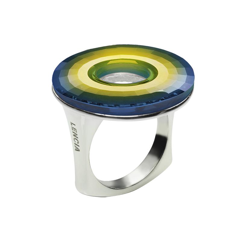Prstensrebro 925/000rodiniranoSwarovski kristal disk fi 25 mm -1xzelena