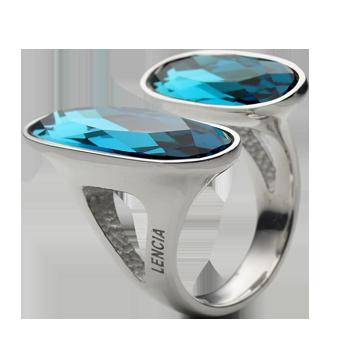 Ringsilver 925/000 rhodium platedSwarovski crystal 27x9 mm -1xSwarovski crystal 21x7 mm -1x