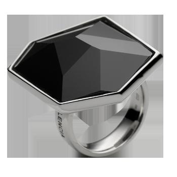 Prsten srebro 925/000 rodinirano Swarovski kristal 28x24 mm - 1x