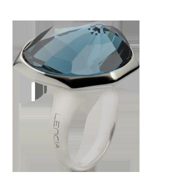Prstansrebro 925/000rodiniranoSwarovski kristal 23x20 mm