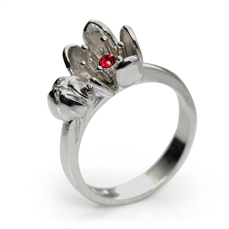 Prstensrebro 925/000rodiniranoSwarovski roza kristal