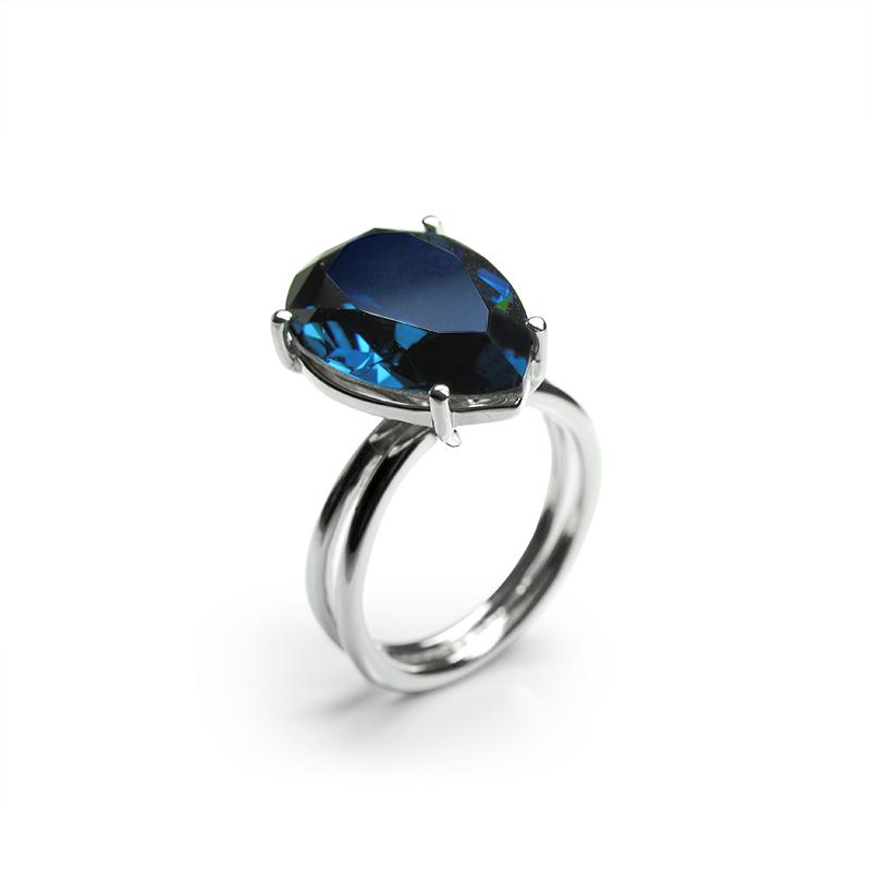 Prstensrebro 925/000rodiniranoSwarovski kristal 13x18 mm