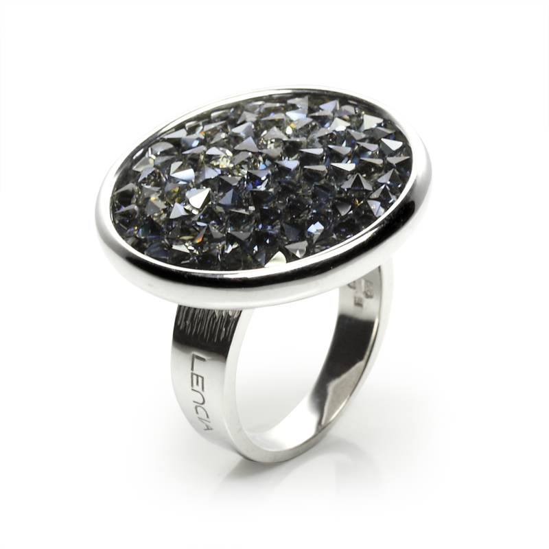 Prstensrebro925/000rodiniranoSwarovski crni kristali