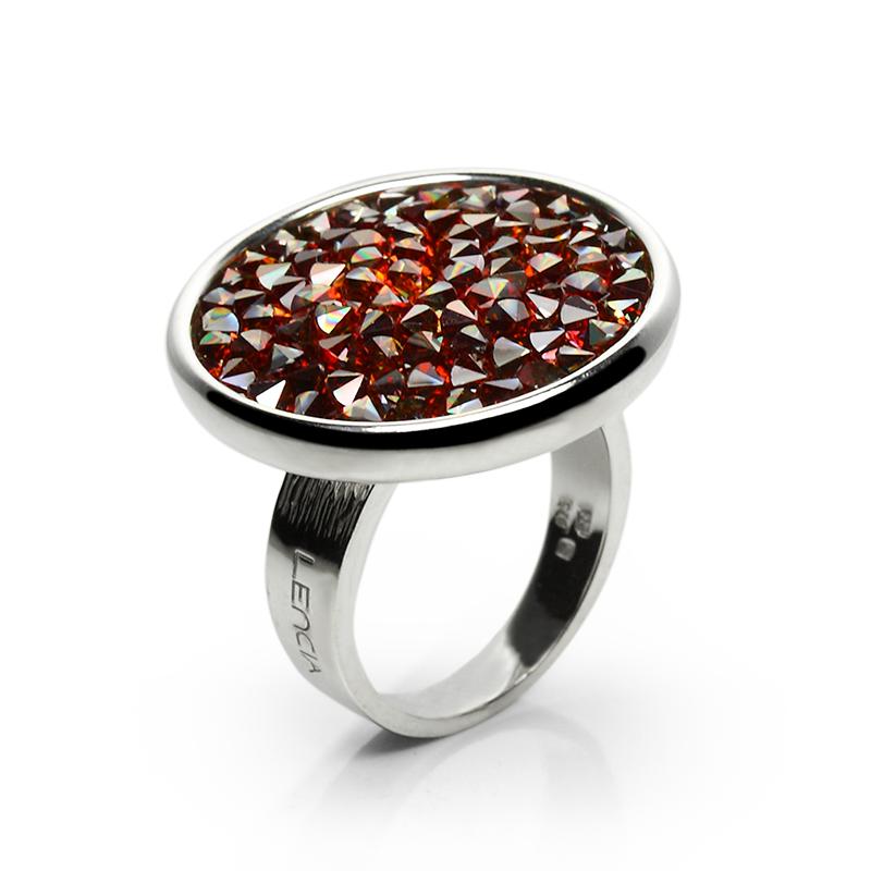 Prstensrebro925/000rodiniranoSwarovski crveni kristali