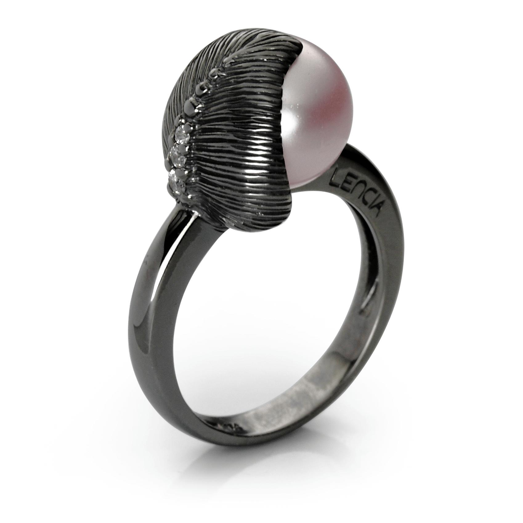 Ringsilver 925/000 black rhodium platedglass pearl Swarovski 10mm-1x; CZ 1,75 mm-1; CZ 1,5 mm-1x; CZ 1,25-1x