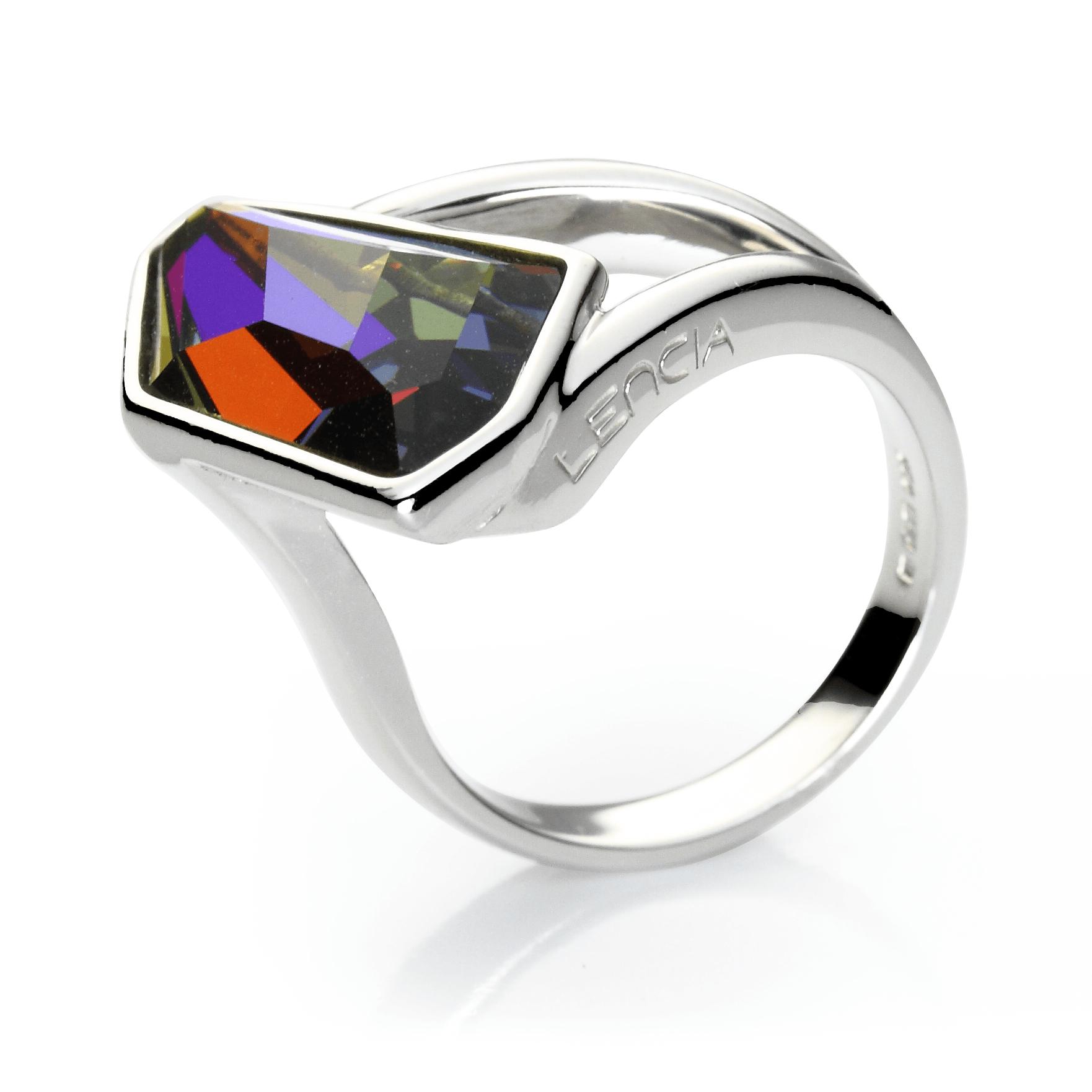 Prstensrebro 925/000rodiniranoSwarovski kristal 18x10