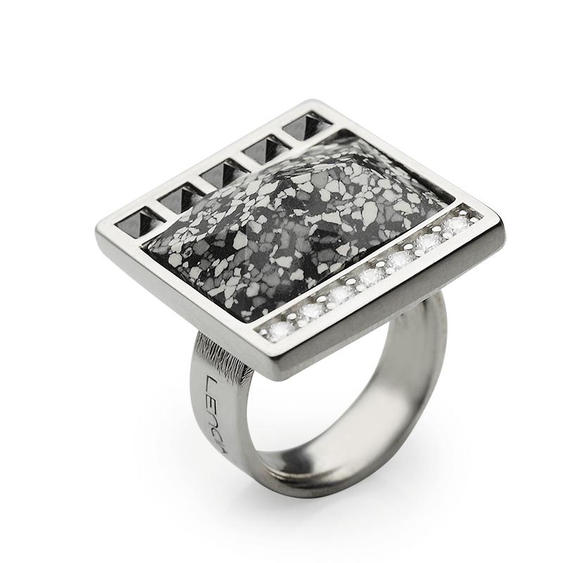 Prstensrebro 925/000rodiniranoCZ fi 2,5 mm - 7xSwarovski kristal 20x14 mm - 1xSwarovski kristal fi 3 mm - 5x