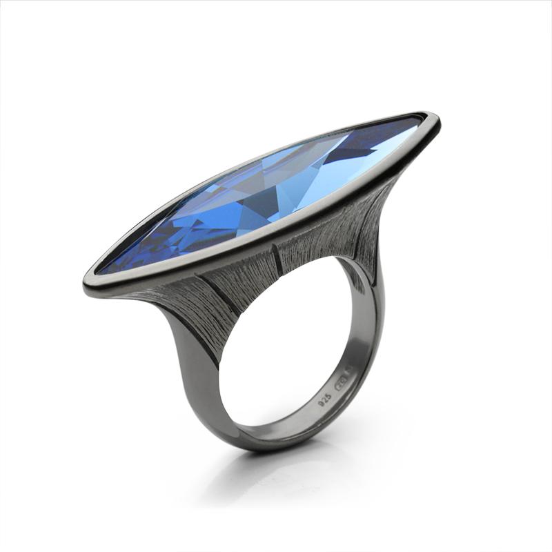 Ringsilver 925/000 rhodium platedblue Swarovski crystal 35x9,5 mm - 2x