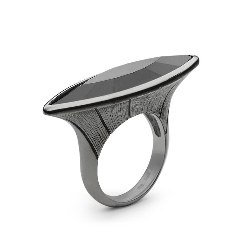 Ringsilver 925/000 rhodium platedblack Swarovski crystal 35x9,5 mm - 2x