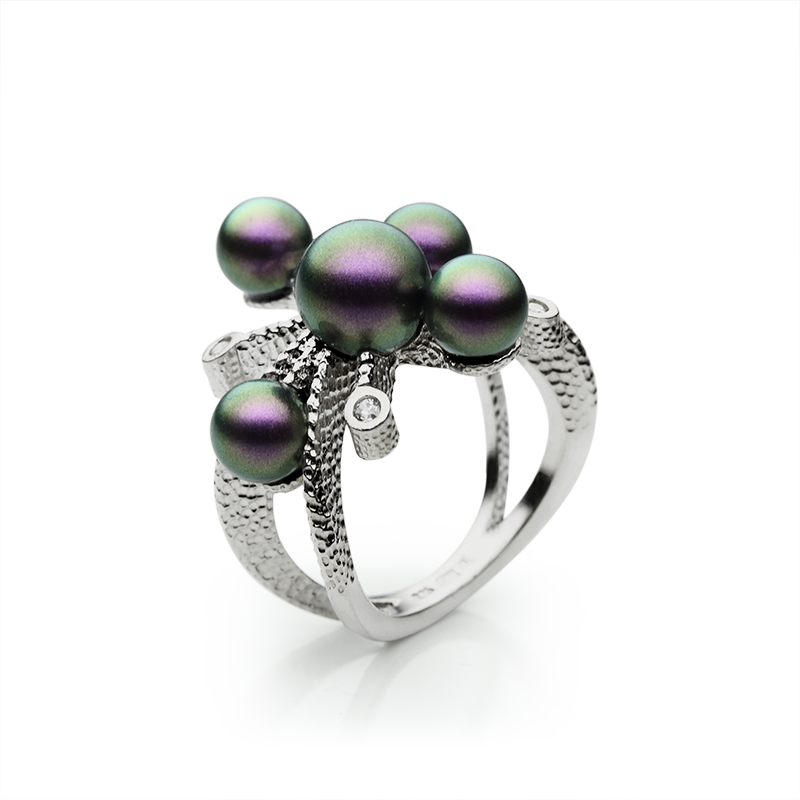 RingSilver 925/000Rhodium platedSwarovski pearl, CZ