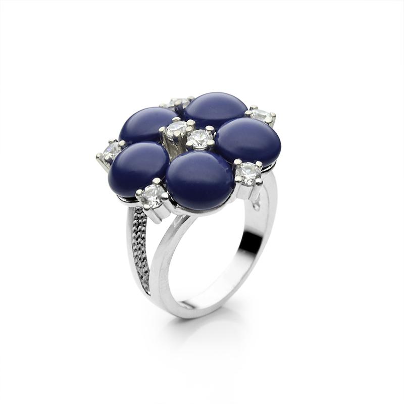RingSilver 925/000Rhodium platedGlass pearl fi 8 mm, CZ