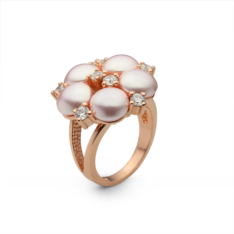 RingSilver 925/000Rose rhodium platedGlass pearl, cz
