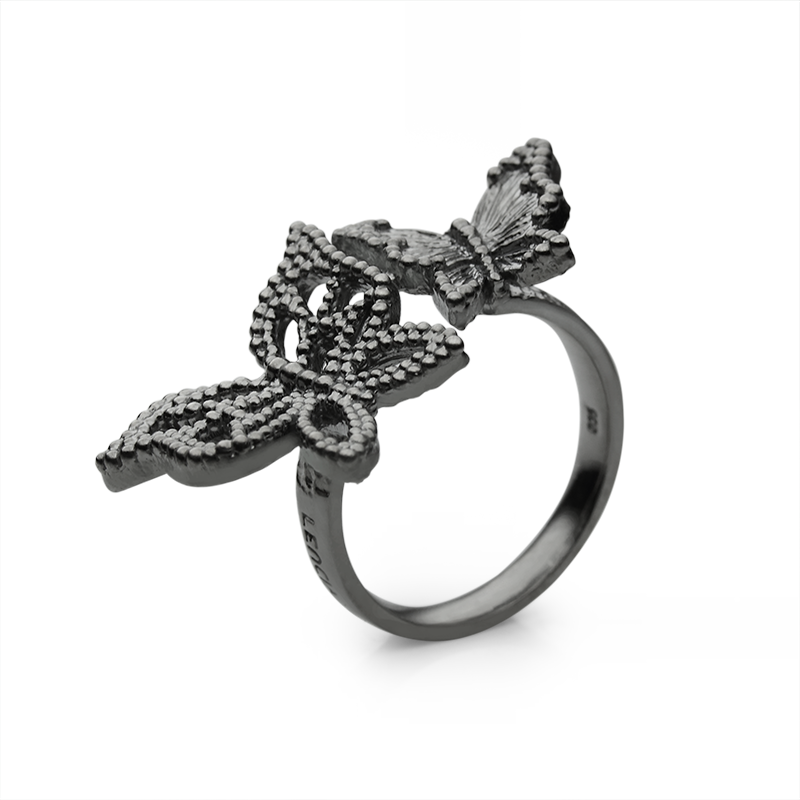 RingSilver 925/000Black rhodium plated