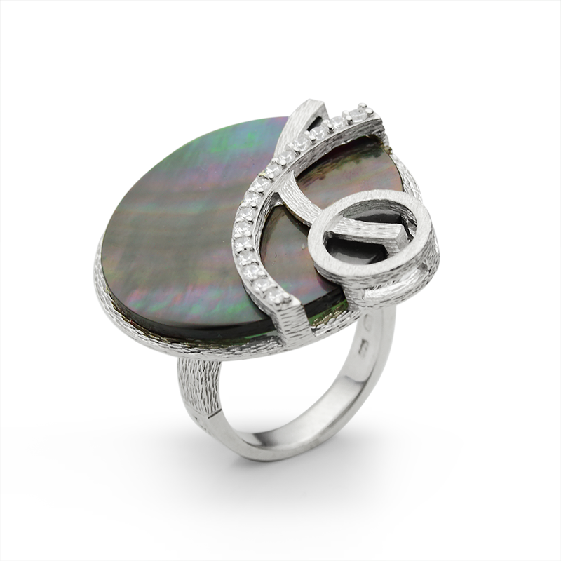 RingSilver 925/000Rhodium platedMother of pearl, CZ - 37 x