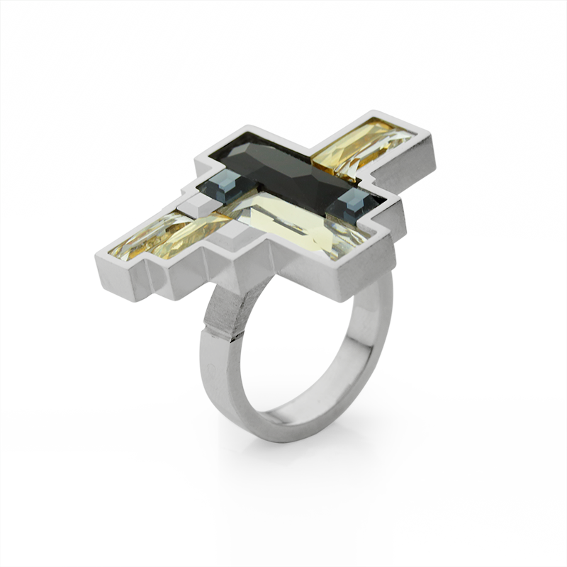 RingSilver 925/000Rhodium platedSwarovski kristal - 10 x