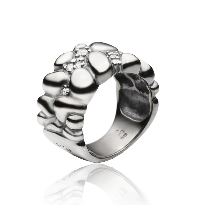 RingSilver 925/000Black rhodium platedCz