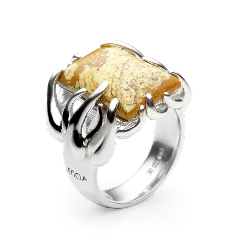 RingSilver 925/000Rhodium platedKalahari jaspis